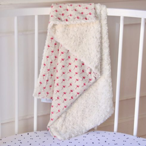 Baby blanket winter cotton flamingo print 70x100 cm