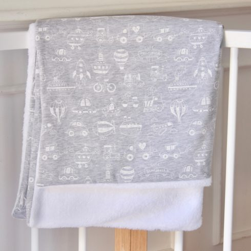 Baby blanket winter cotton gray vehicles 70x100 cm