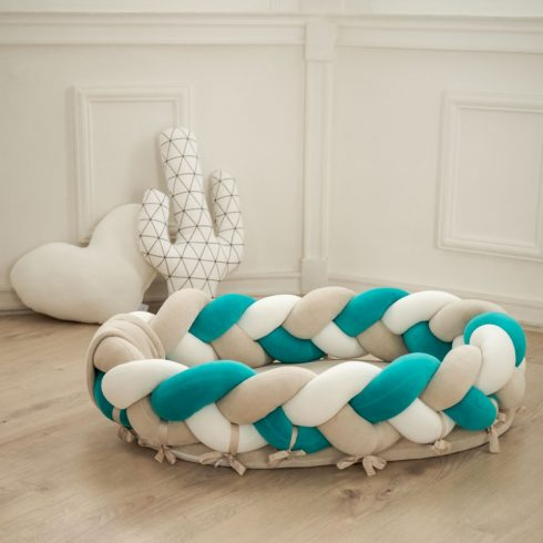 Braided baby nest amazonas green beige cream in 2 sizes