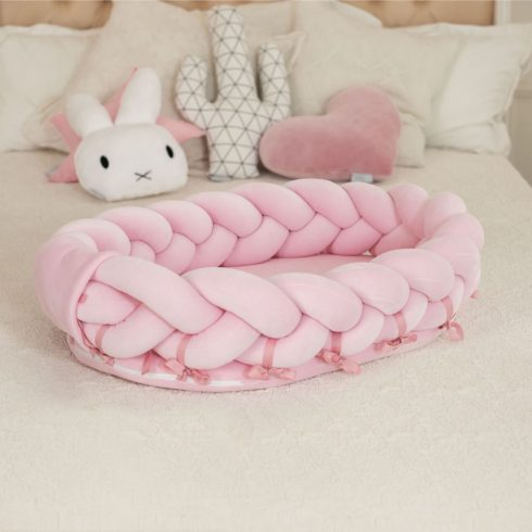 Braided cot babynest newborn portable large pink
