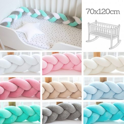Design a custom colors braided crib baby bumper 180 cm, up to half a 70x120 cm crib