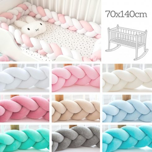 Design a custom colors braided crib baby bumper 400 cm, around a 70x140 cm crib