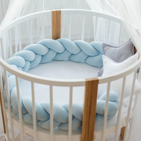 Braided cot bumpers sky blue in 6 sizes