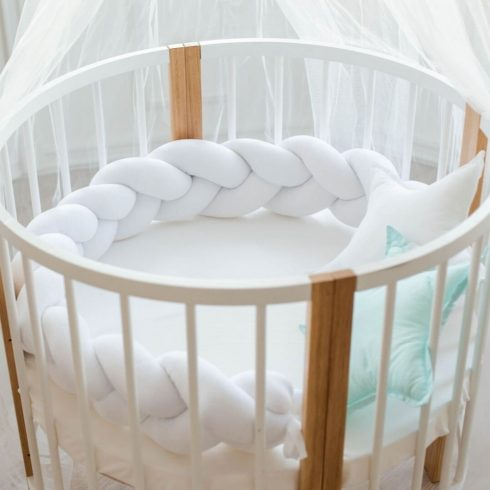Braided cot bumpers snow-white in 6 sizes