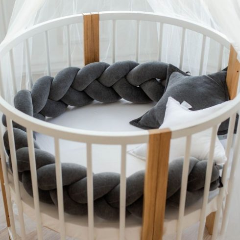 Braided cot bumpers graphite in 6 sizes
