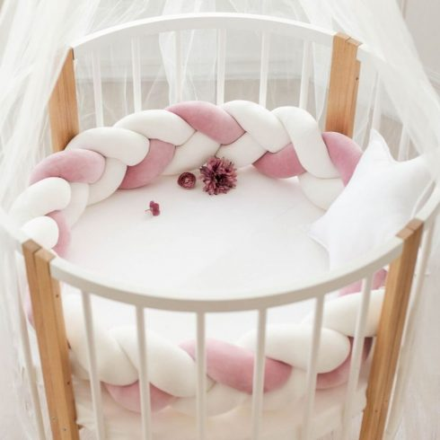 Baby braided crib bumpers cream-mallow-cream