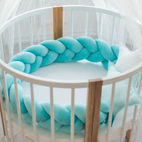 Baby braided crib bumpers more sizes turquoise