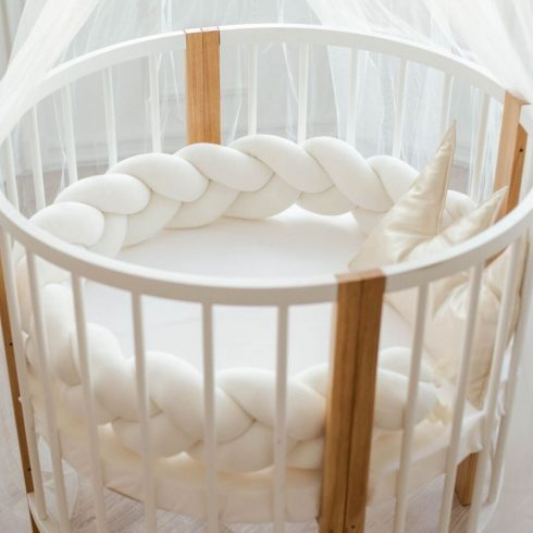 Braided cot bumpers beige in 6 sizes