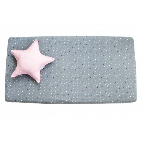 Baby crib sheets rubber cotton in several sizes with pink white patterns on gray background