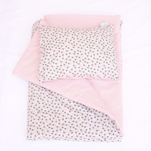 Baby bedding set duvet and pillow pink hearts cover and quilt