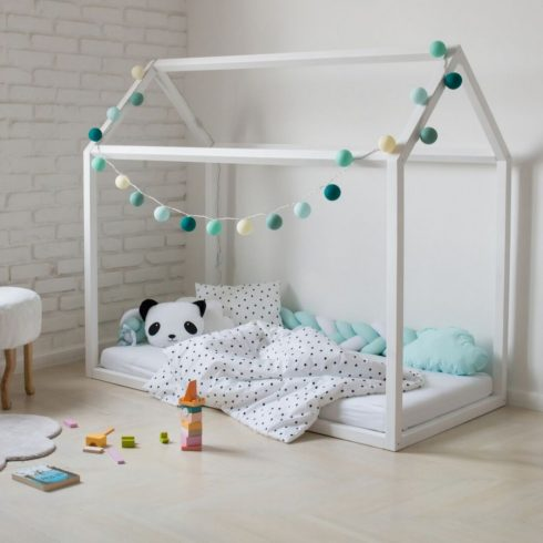 House bed painted white montessori bed with rail guard option
