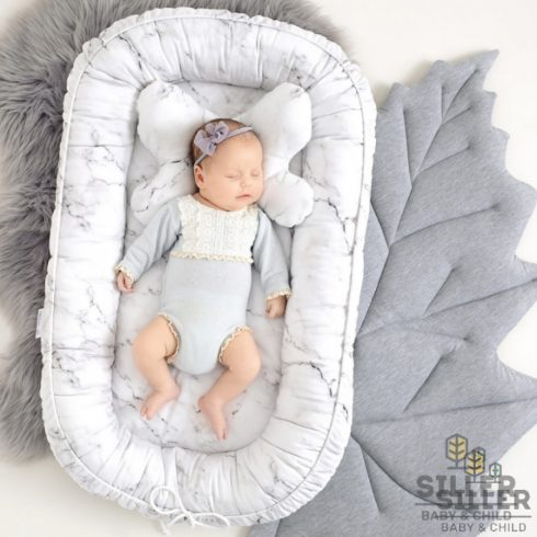 Baby nest for newborns with marble pattern