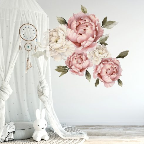 Nursery decal Peony Rose Flowers wall sticker for Kids Girls
