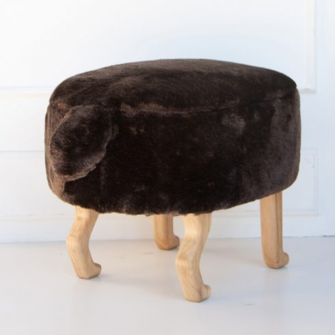 Kids and adult chairs artificial fur puff brown