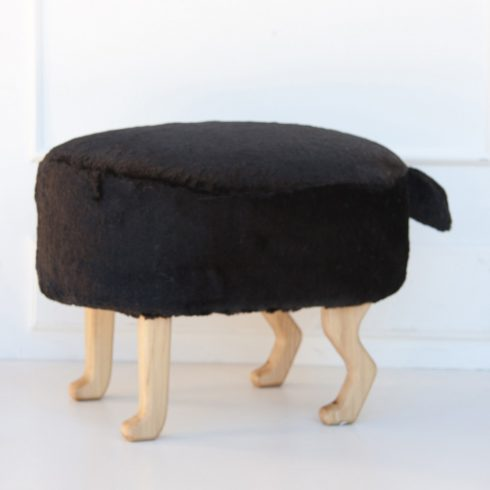 Kids and adult chairs artificial fur puff black