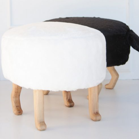 Kids and adult chairs artificial fur puff white