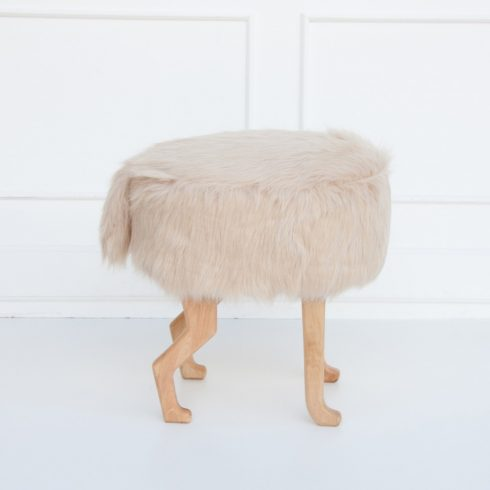 Kids and adult chairs artificial fur puff beige