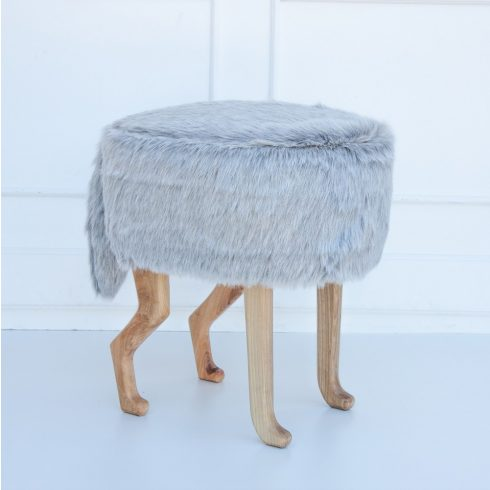 Kids chairs artificial fur puff silver gray