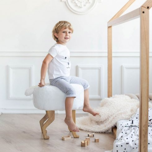Kids and adult chairs artificial fur puff white montessori kids room
