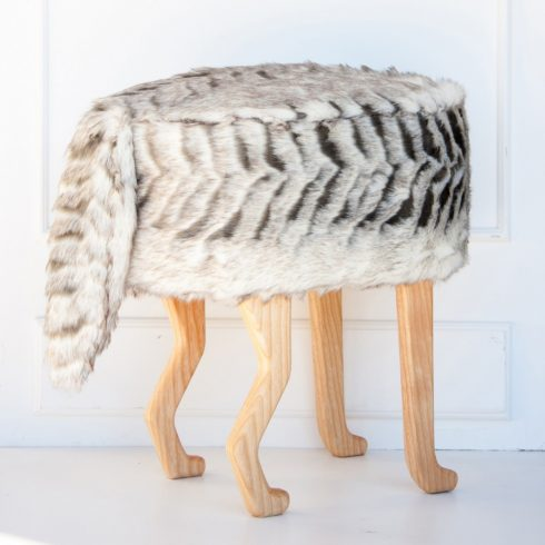 Kids and adult chairs artificial fur puff raccoon