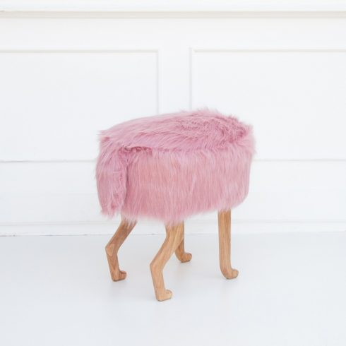 Kids and adult chairs artificial fur puff pink