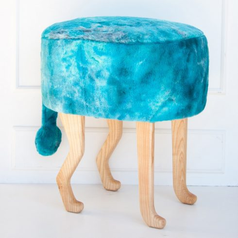 Kids and adult chairs artificial fur puff turquoise